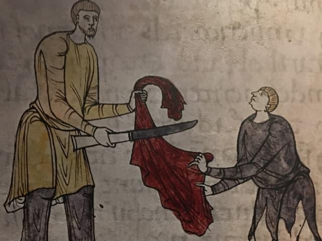 Martin teilt den Mantel mit einem Bettler. Bild aus dem 11. Jahrhundert.
