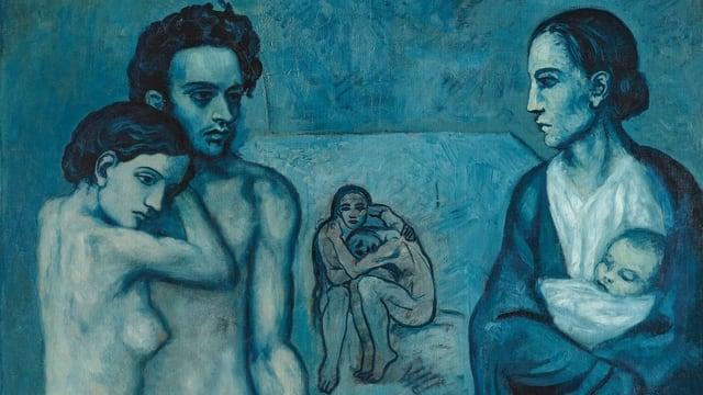Gemälde in Blautönen mit zwei Paaren und einer Frau mit Baby