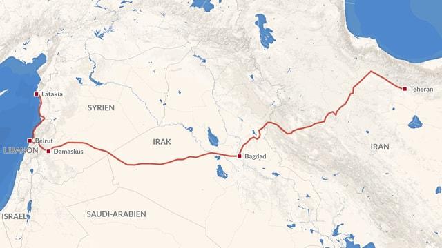 Karte vom Teheran bis Latakia an der Syrischen Küste