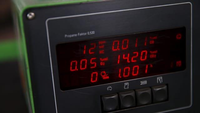 Das Display einer Abgas-Testanlage in Warschau.