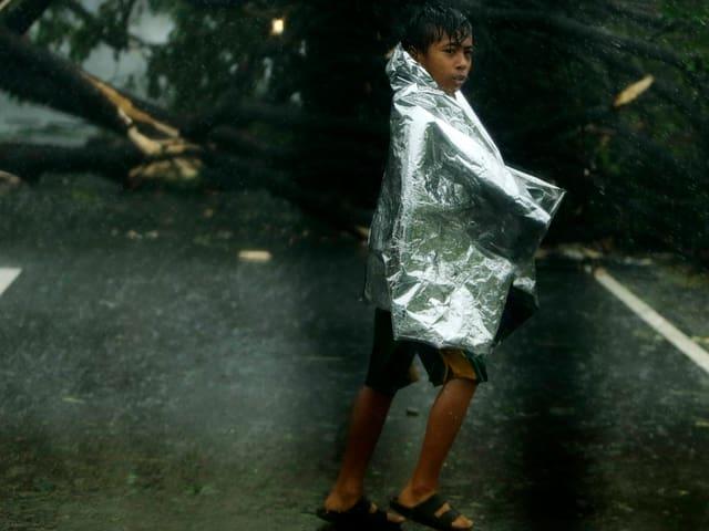 Knabe in eine Schutzfolie gehüllt überquert eine Strasse, im Hintergrund ein umgestürzter Baum