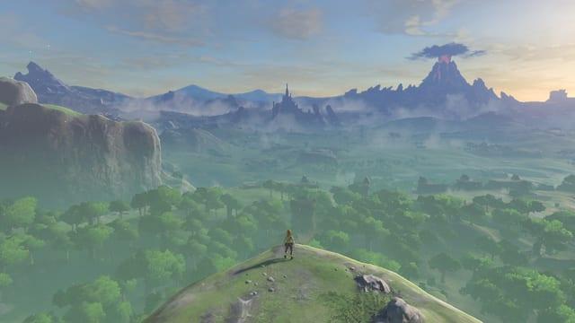 Der kleine Link blickt über die unendlichen weiten von Hyrule.