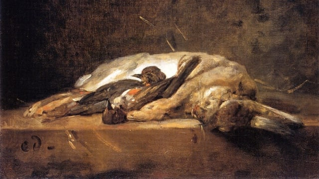 Ölgemälde von einem toten Hasen auf einem Steintisch