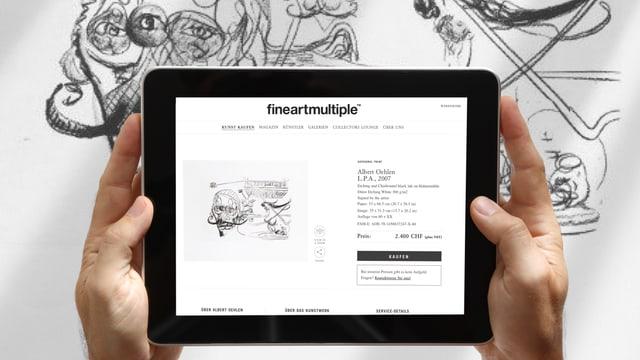 Ein iPad mit einem Screenshot von einem Gemälde. An der Wald ist das Gemälde ebenfalls.