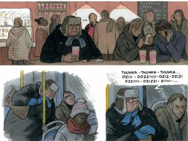 Comic-Strip mit drei Bildern: 1: Frau in einer Bar alleine am Tresen. 2: Frau setzt sich im Bus an einen Platz. 3: Frau sitzt im Bus neben einem Mann, der gerade laut Musik hört.
