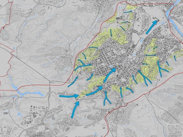 Luftleitbahnen auf einer Karte von Stuttgart