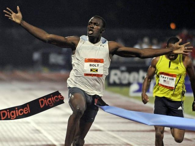Usain Bolt bei seinem ersten Weltrekord am 31. Mai 2008.