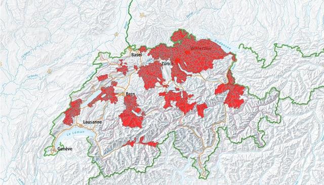 Schweizerkarte mit eingefärbten Risikogebieten.