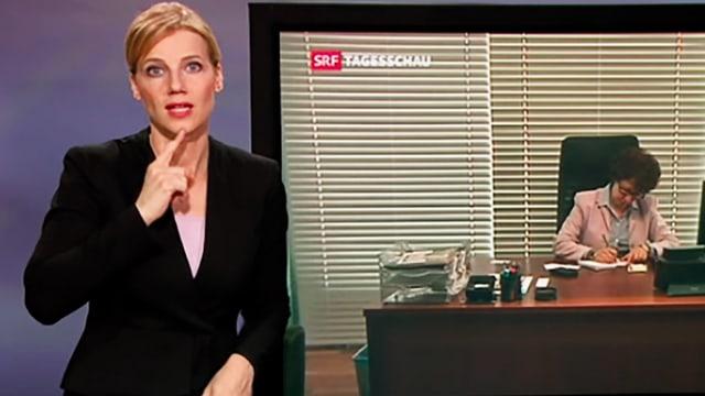 Gebärdendolmetscherin neben TV-Bildschirm stehend und artikulierend.