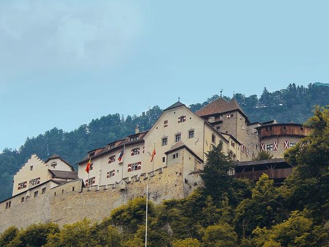Blick auf das stattliche Schloss auf einer Felsterrasse über Vaduz.
