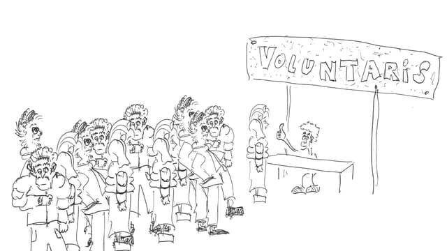 Ina caricatura da voluntaris che stattan en ritscha per il casting.