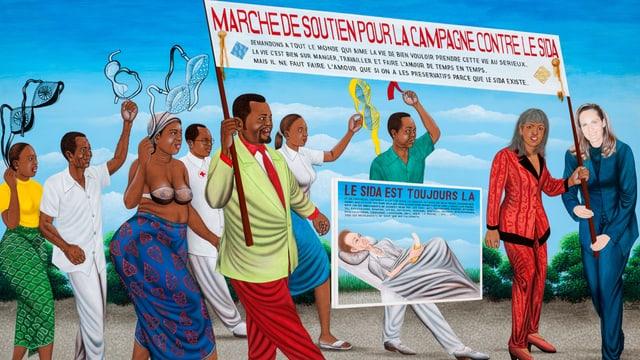 Gemaltes Bild von Leuten, die gegen Aids protestieren.