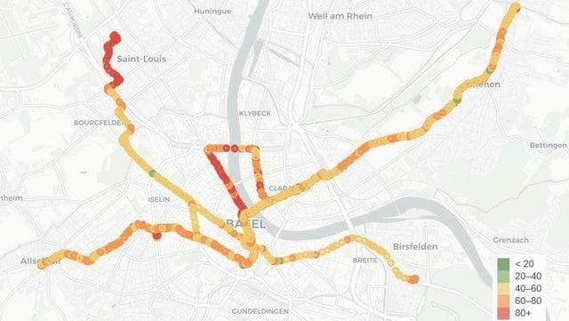 Vor allem entlang des Rheins und im Elsass registrierten die Trams eine hohe Belastung mit Feinstaub.
