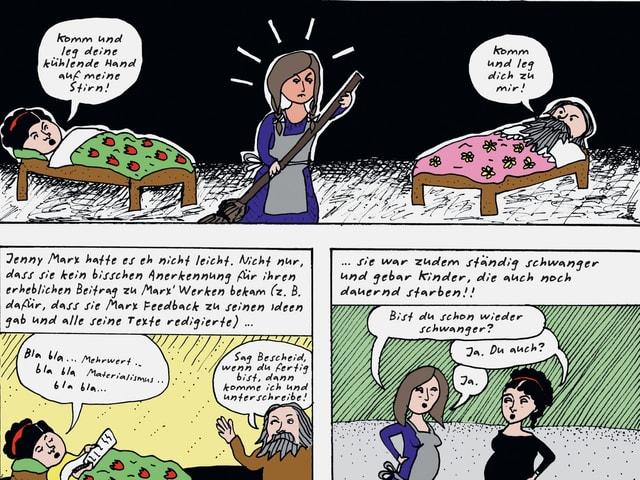 Comiczeichnungen: eine Frau mit Besen in der Mitte, zwei Betten rechts und links. In einem liegt Karl Marx im anderen seine Frau.