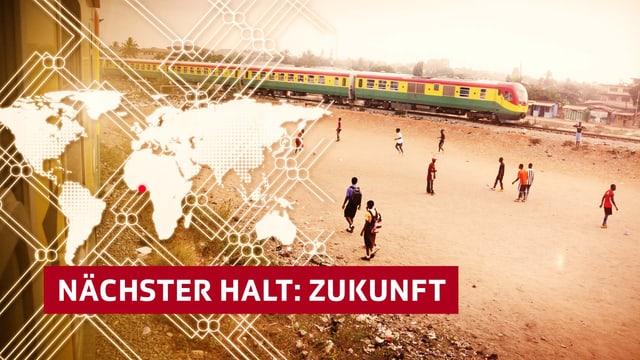 Weltkare mit Zug in Ghana