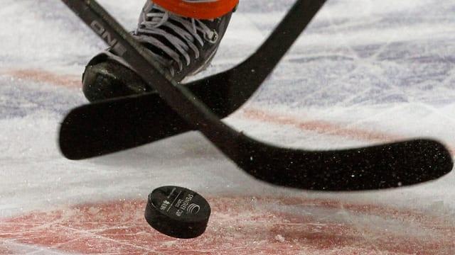 dus bastuns da hockey ed in puck