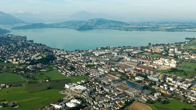 Die Stadt Zug aus der Vogelperspektive
