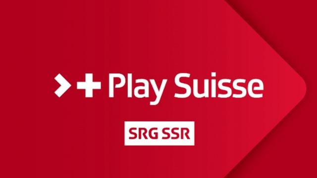 Weisse Schrift auf rotem Grund. Der Schriftzug: Play Suisse, SRG SSR.