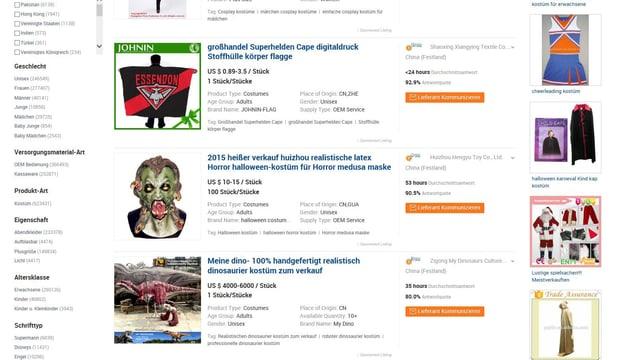 Ausschnitt der «Alibaba»-Webseite mit einigen von Zehntausenden von Produkten