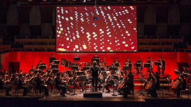 Ein Sinfonieorchester vor einer Leinwand, auf der Punkte zu sehen sind.