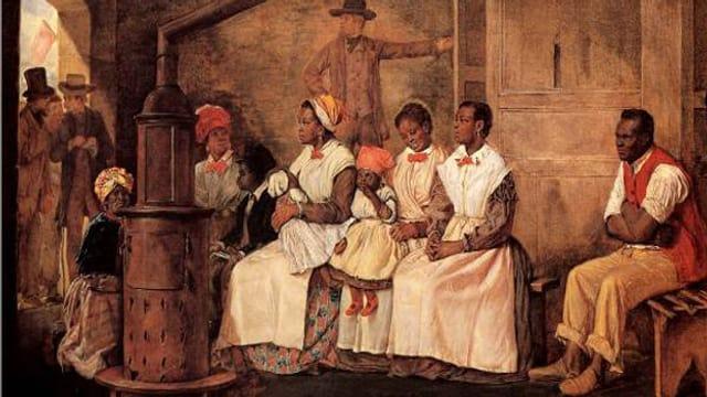 Zeichnung eines Sklavenhandels in Richmond, Virginia, aus dem Jahre 1853.