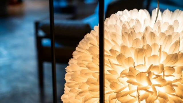 Ein Lampenschirm mit weissen Federn.