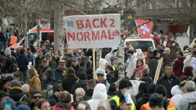 purtret da demonstrants a Liestal.