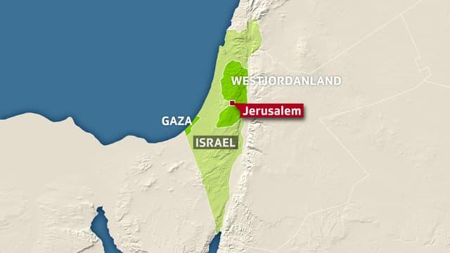 Karte Israel, Gaza und Westjordanland