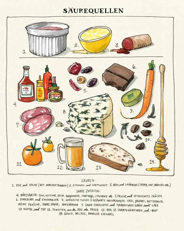 Eine Buchseite zeigt Säurequellen: blauer Käse, Zitrone, Tomaten, Bier, Essigflschen usw.