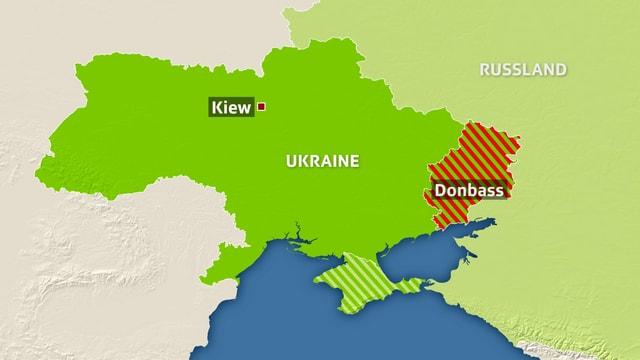 Der Donbass im Osten der Ukraine.