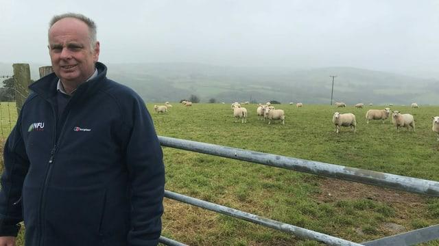 Wyn Evans vor dem Gatter zur Schaf-Weide.