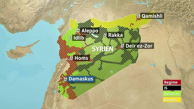 Karte Syriens mit Einflussgebieten der diversen Konfliktparteien.