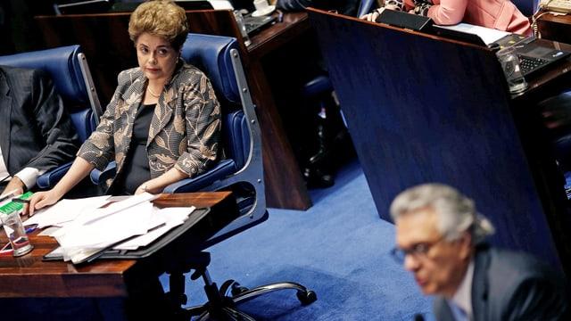Die suspendierte Dilma Rousseff bei der Anhörung im Senat