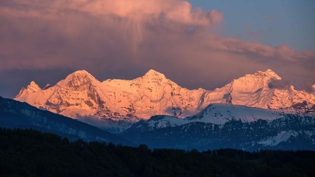 Blick von Kirchenthurnen auf die verschneiten Eiger, Mönch und Jungfrau.