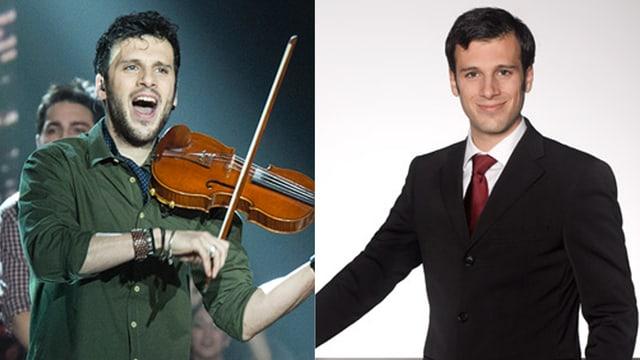 Zwei Bilder von Sebalter: Als Musiker mit der Geiger und geöffnetem Mund und Dreitagebart. Und im schwarzen Anzug mit Krawatte.