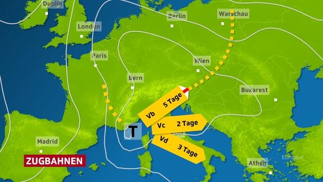 Europakarte mit Tief bei Genua. Von dort weisen drei gelbe Wanderwegpfeile drei Richtungen