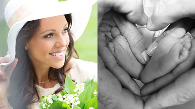 Kiki Maeder lächelt. Daneben ein Bild der Füsse ihrer Tochter Ava.