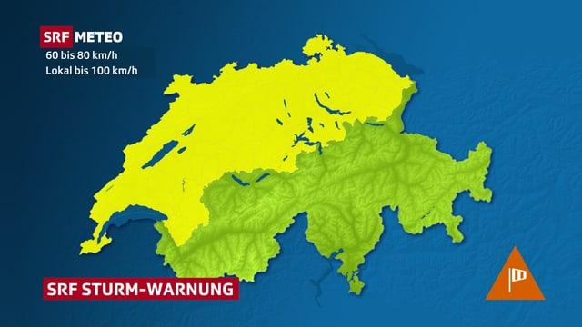 Die Karte zeigt Regionen, in denen mit starkem bis stürmischem Wind gerechnet weden muss.