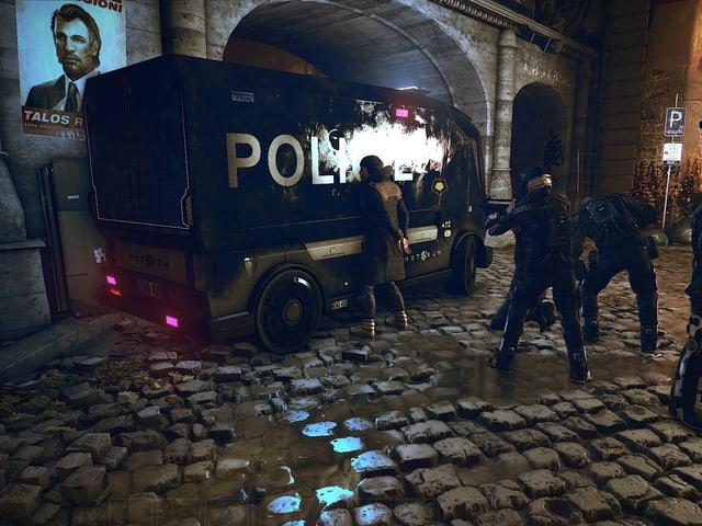 Eine Polizeikontrolle eines Augs.