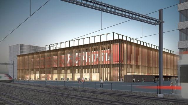 Visualisierung des geplanten Stadions in Aarau.