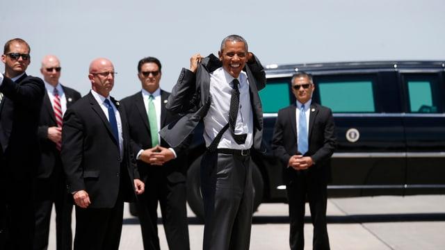 Barack Obama und Mitarbeiter des Secret Service.