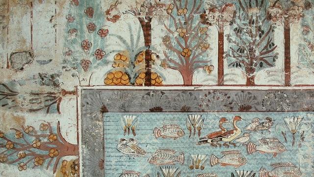 Ein Wandgemälde eines antiken ägyptischen Gartens.