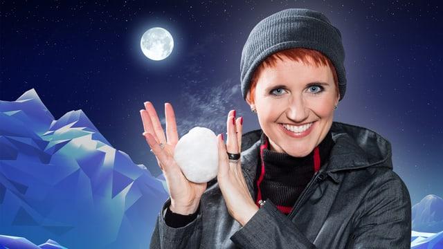 Steffi Buchli mit Schneeball