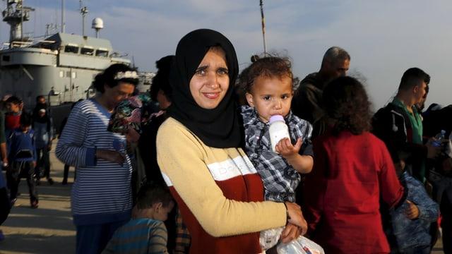Syrische Frau mit Säugling.