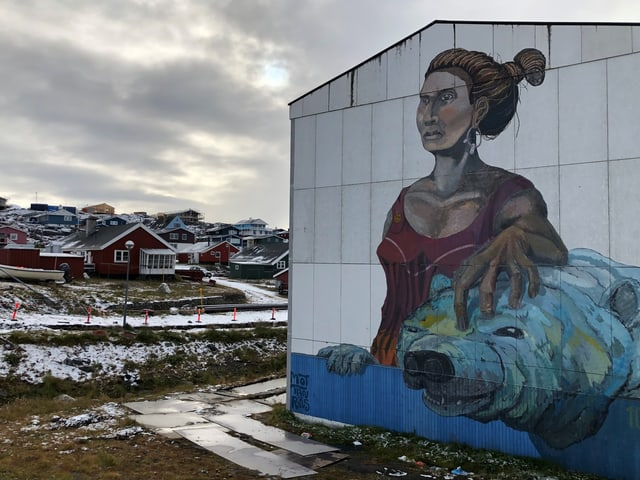 Ein Mural (bemalte Wand) in Nuuk