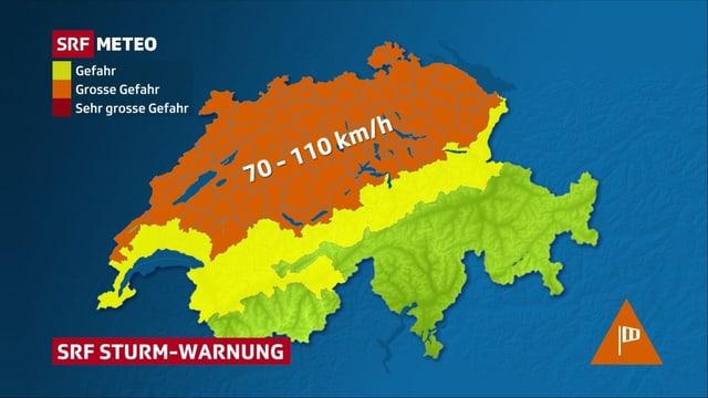 Schweizerkarte, die den ganzen Norden und Alpennordhang mit Wallis mit Windwarnungen eingefärbt hat.