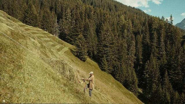 ein Bauer an einem Steilhang