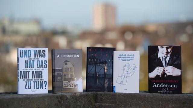 Fünf Bücher stehen nebeneinander auf einer Mauer.