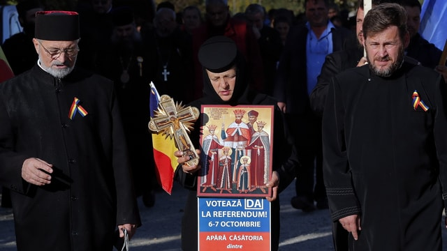 Orthodoxe bei einer Demonstration