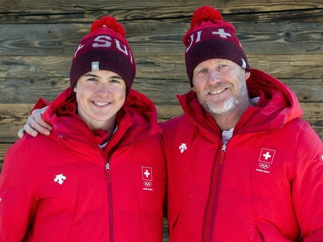 Der Vater ist auch der Trainer: Noé Roth und der Schweizer Nationaltrainer Michel Roth.